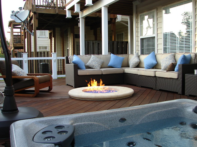 Fire Pit And Hot Tub On Ipe Deck Terrace Tampa By Advantagelumber Com