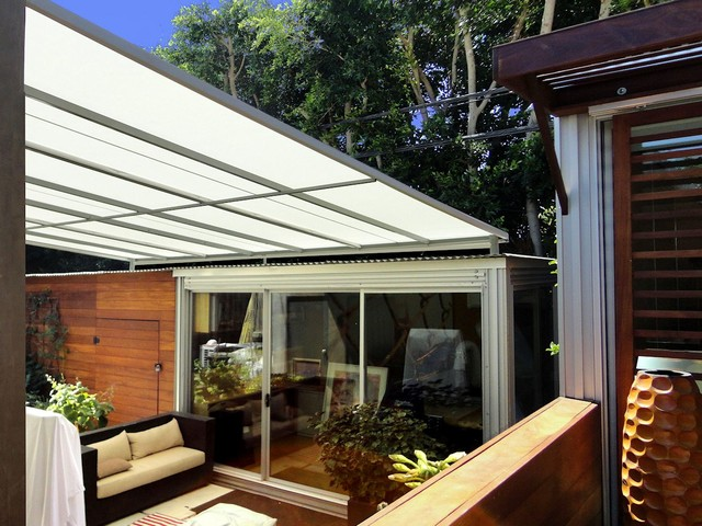 Flat Panel Awning : Flat panel patio cover contemporary deck los angeles