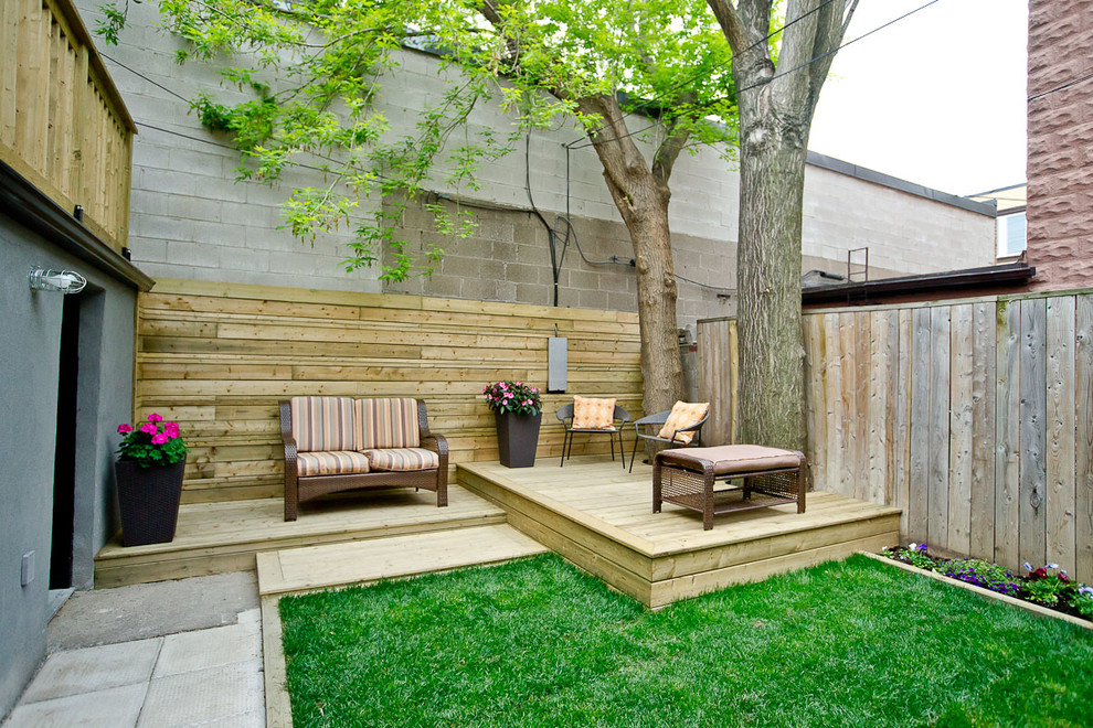 Small trendy deck photo in Toronto with no cover
