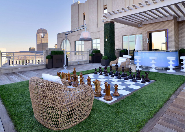 Giant Chess Set On A Dallas Rooftop Contemporary Deck