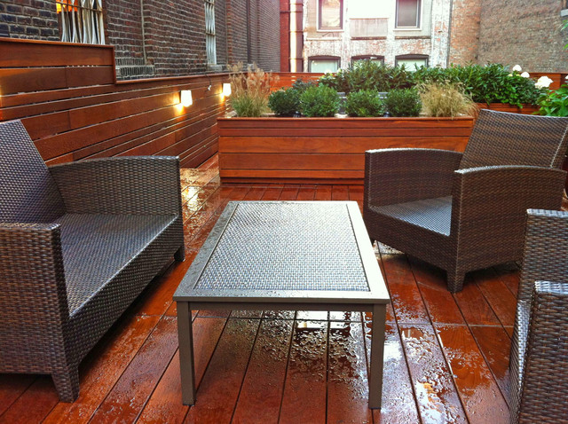 Gramercy Roof Garden Terrace Deck Wood Planter Boxes Fence