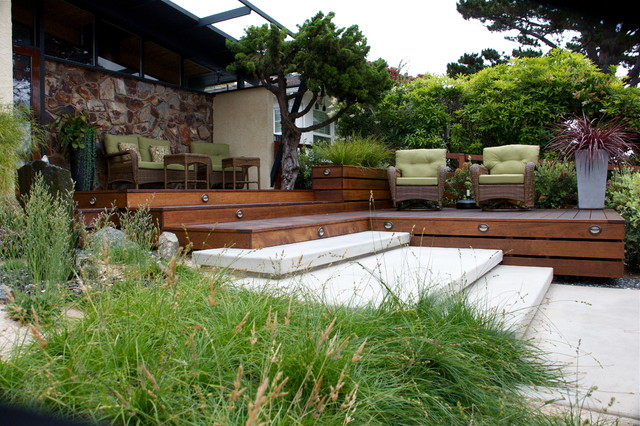 Hardwood Deck And Floating Stairs Beach Style Deck