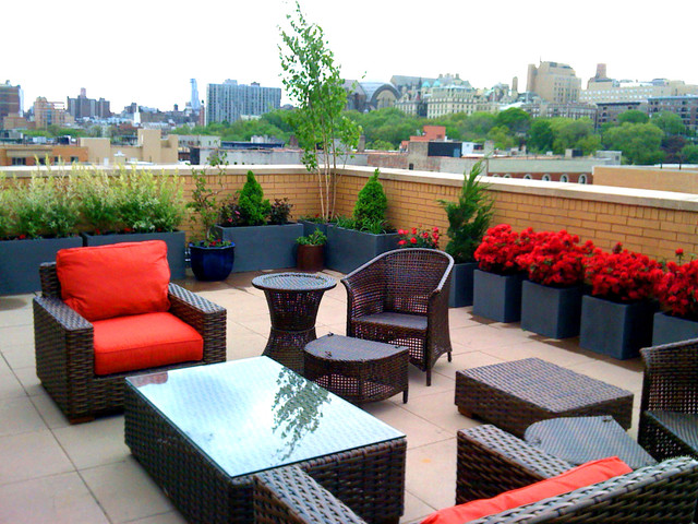 Example Of A Large Trendy Rooftop Deck Container Garden Design In New York