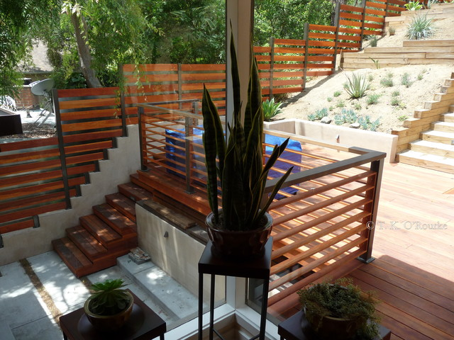 Hillside Deck And Fencing Hollywood Hills Contemporary
