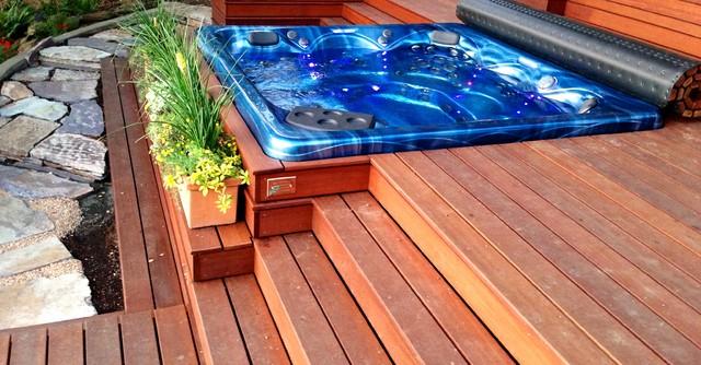Hillside Hot Tub Deck Contemporary Portland