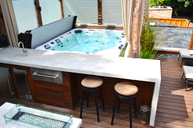 Hot Tub Retreat contemporary deck