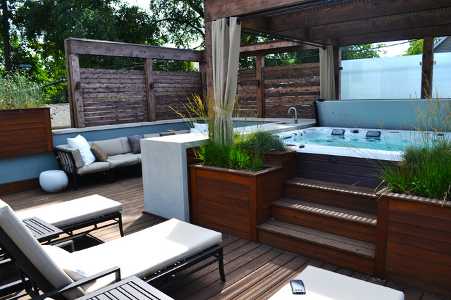 Hot tub retreat contemporary deck other by chicago for Garden decking and hot tub