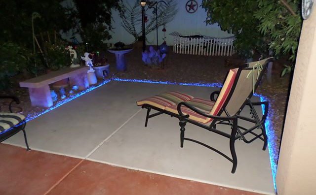 Superior Inspired LED Outdoor Lighting   Blue Strip Lighting On Patio Deck