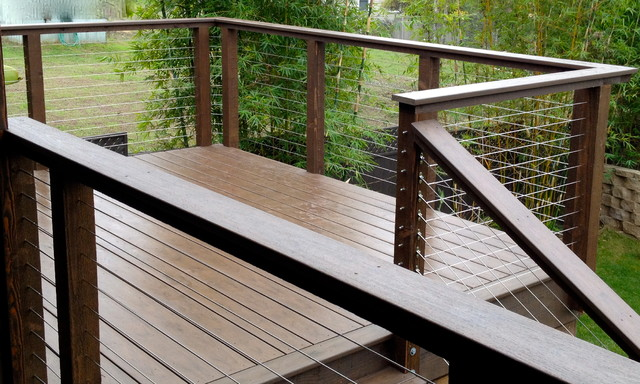 Invisible Wire Railing Modern Deck San Diego By