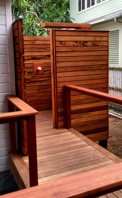 ipe deck with mahogany bench and tigerwood outdoor shower