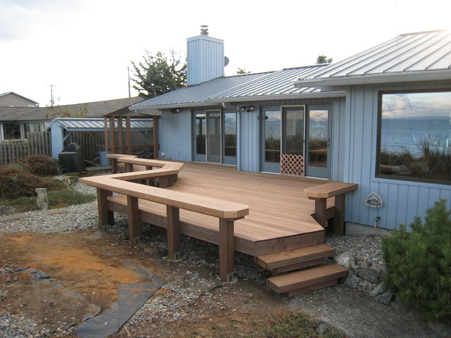 Ironwood Deck With Bench Railings Traditional