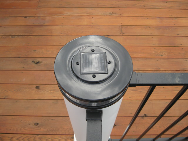 Kitchen - Custom Deck lighting using low voltage lighted post caps. - Traditional - Deck ...