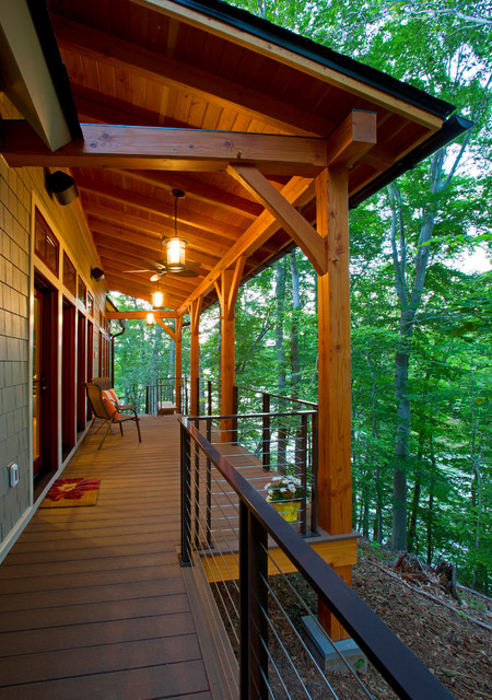 Lakefront Timber Frame Home and Pavillions - Rustic - Deck