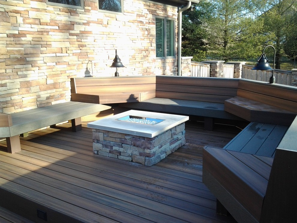 Deck - large craftsman backyard deck idea in Indianapolis with no cover and a fire pit