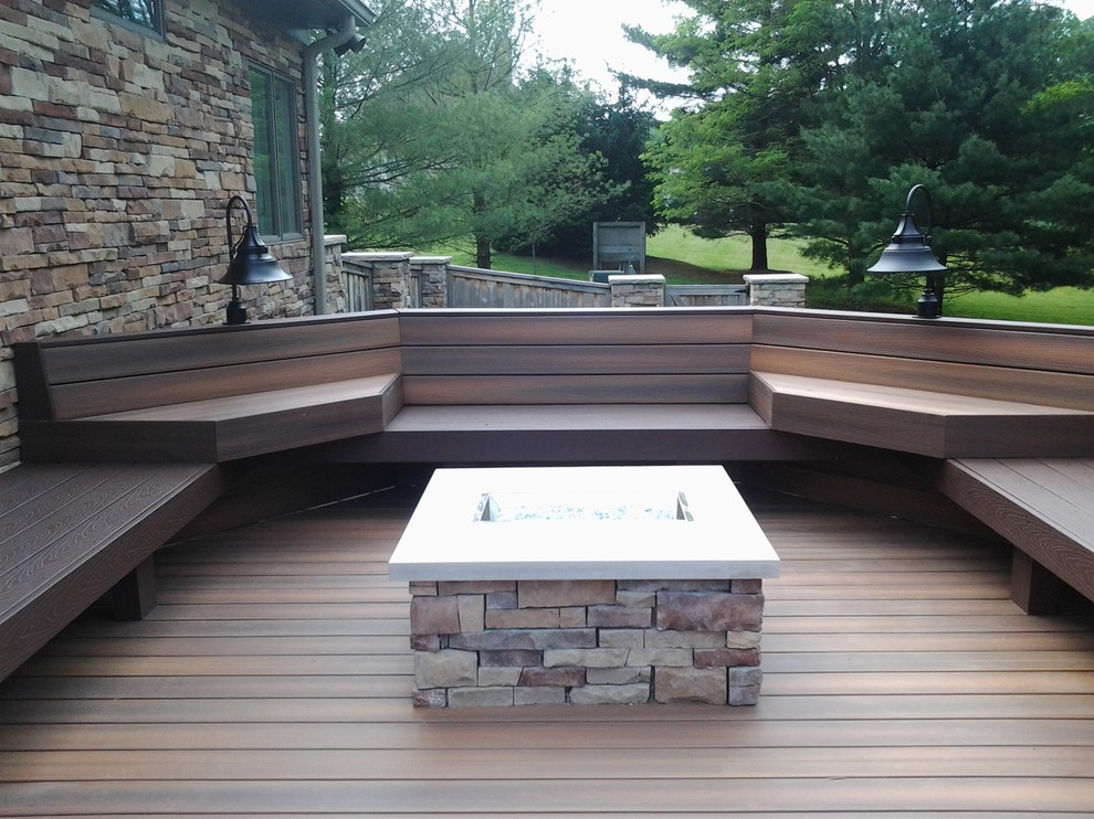 Inspiration for a large craftsman backyard outdoor kitchen deck remodel in Indianapolis with no cover