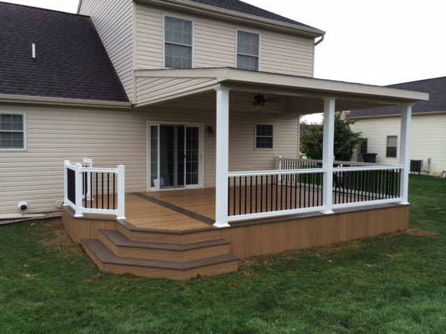 Lean to Roof Over Two Toned Clubhouse Deck Modern