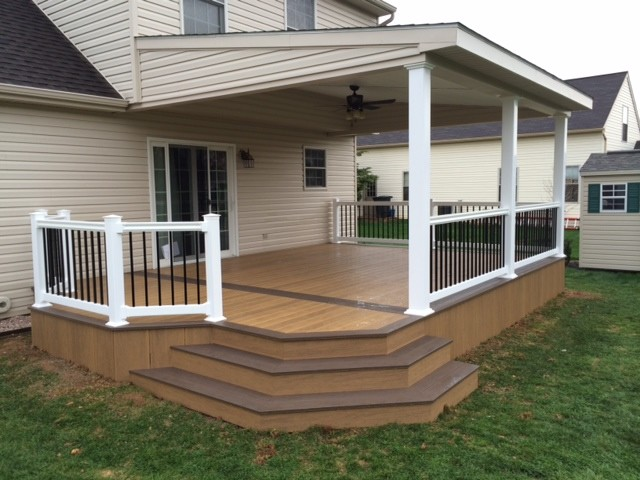Lean to roof over two toned clubhouse deck modern deck for Roof deck design