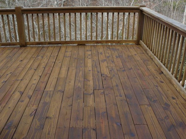 Log Home And Deck Finishes Rustic Deck Charlotte