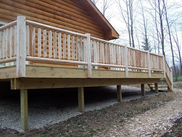 Log railing for Log home decks