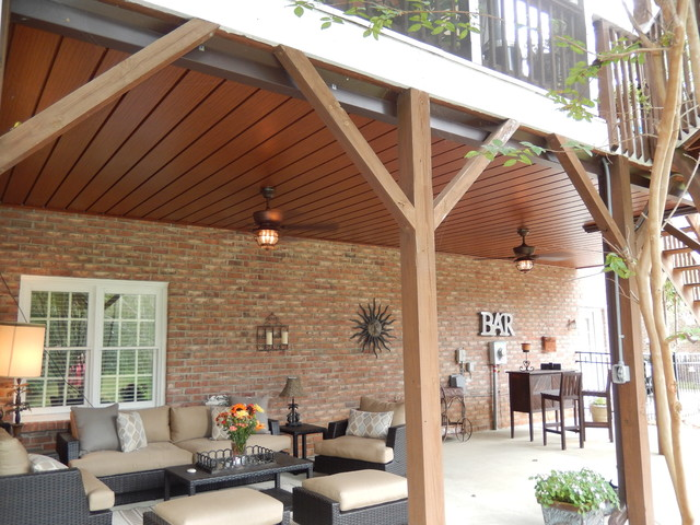 Lovely Wood Grain Waterproof Ceiling Area Below Your Existing Deck  Traditional Deck