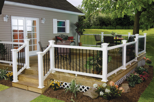 low maintenance vinyl aluminum deck railing traditional lowes kits cedar with balusters systems