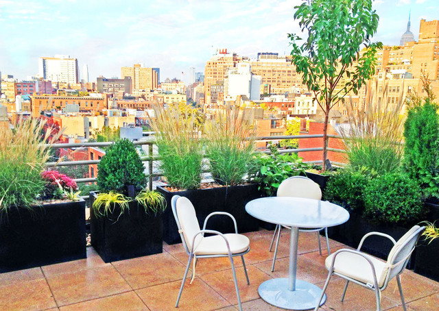 Manhattan roof garden paver deck terrace container for Terrace garden plants