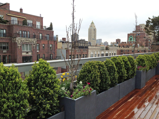 Manhattan Rooftop Terrace Roof Garden Deck Outdoor Dining Container Plants Contemporary
