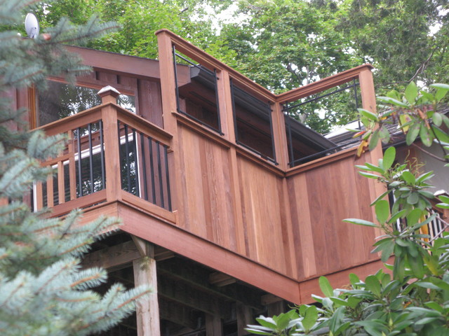 Mission Style Ipe deck with custom view privacy walls traditional-exterior