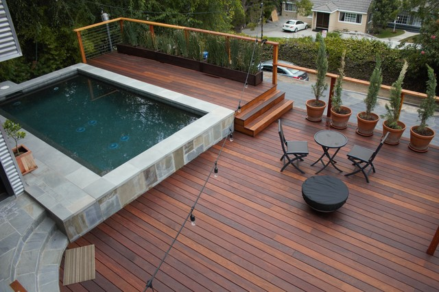 Modern backyard pool deck Modern Deck Los Angeles by LA