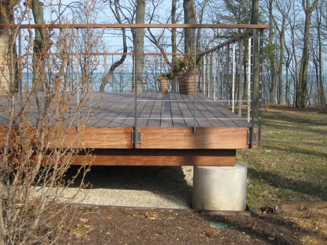 modern ipe and stainless deck midcentury-exterior