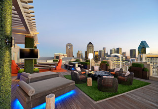 Rooftop garden with fake grass