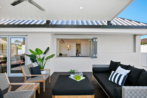 black and white outdoor living area