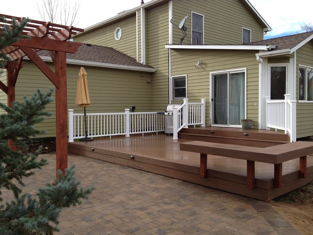 Multi Level Backyard Decks : MultiLevel Deck and Paver Patio with Cedar Pergola, Lafayette