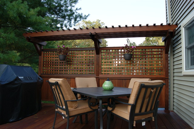 Multilevel ipe deck w stone inlay randolph nj for Wooden privacy walls for patios