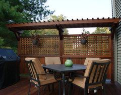 Multilevel Ipe Deck w/stone inlay Randolph NJ traditional-patio