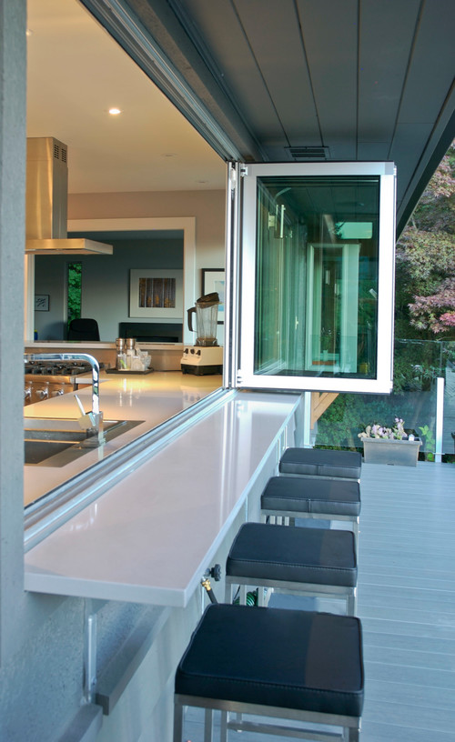 Who is the source manufacturer of the accordion folding for Kitchen window bar ideas
