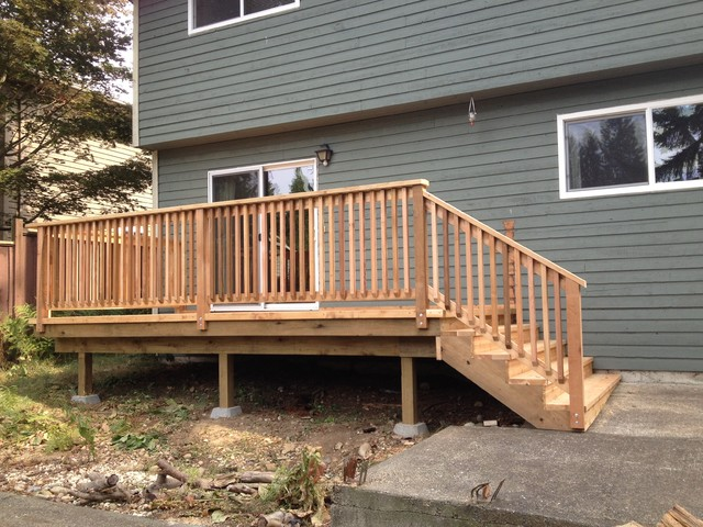 North delta builder 39 s deck re re with box stairs for Box steps deck