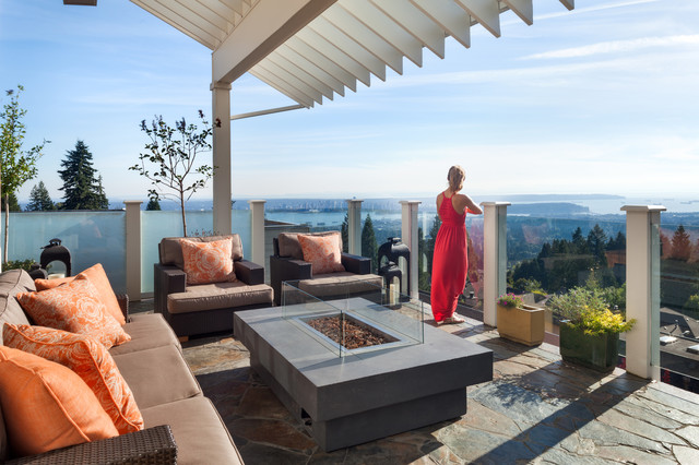 North Vancouver  Modern Balcony with view  Contemporary  Fire pit   Indoor Outdoo. North Vancouver  Modern Balcony with view  Contemporary  Fire pit