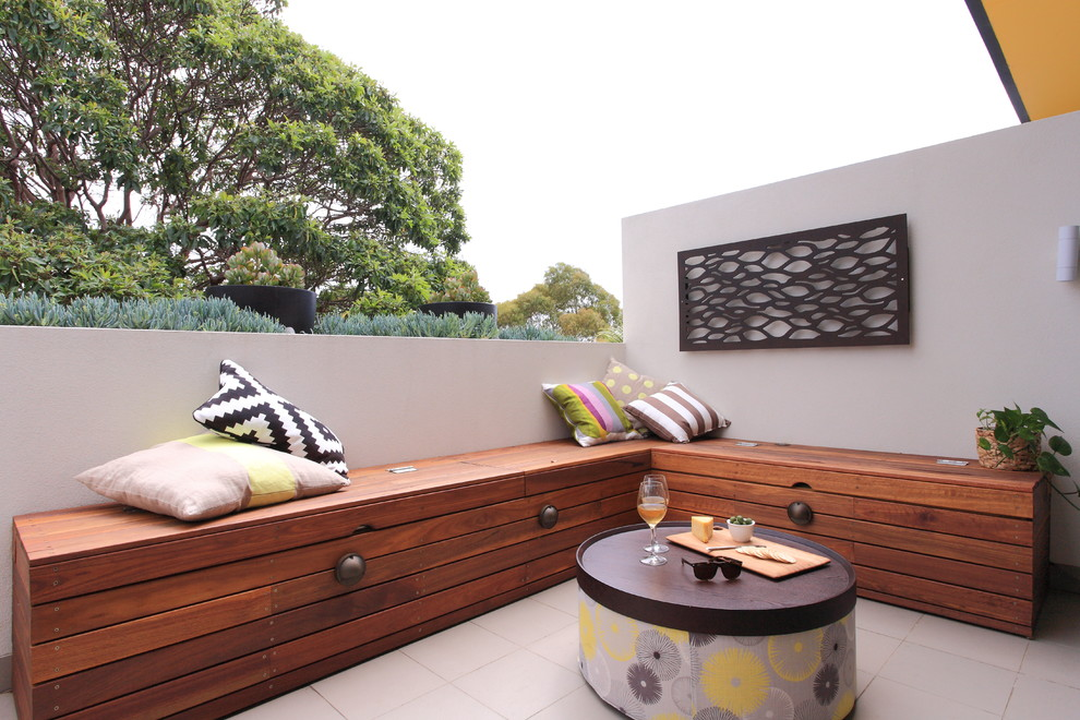 Design ideas for a contemporary terrace and balcony in Sydney with no cover.