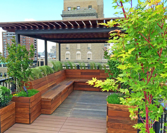 Nyc custom roof deck: ipe & metal pergola, ipe bench, planters ...