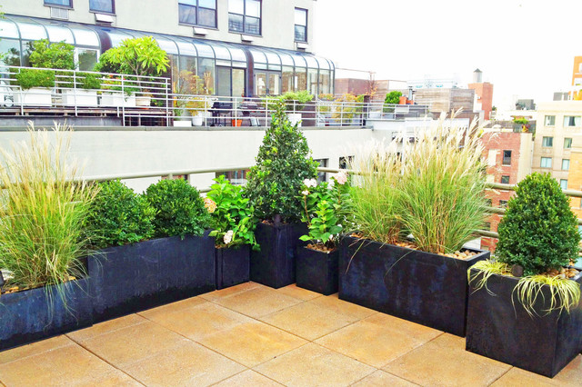 NYC Roof Garden Paver Deck Terrace Container Plants