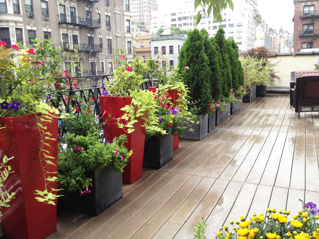 nyc roof garden terrace composite deck container garden fiberglass pots contemporary