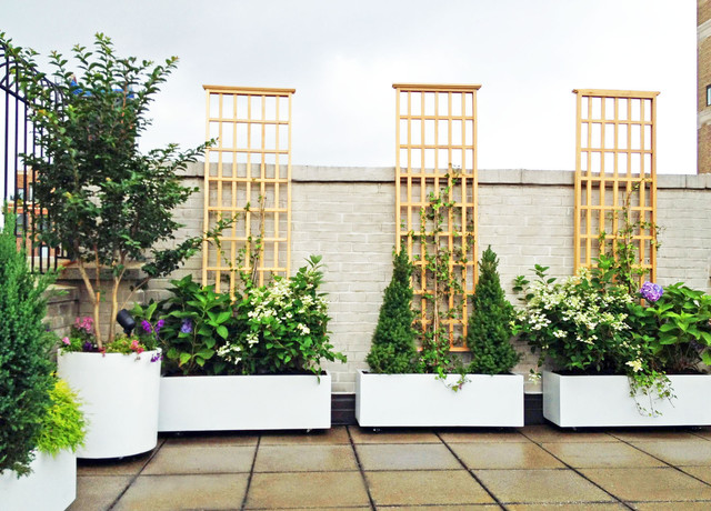 NYC Roof Garden: White Planters, Terrace Deck, Paver Patio, Container Plants  Contemporary