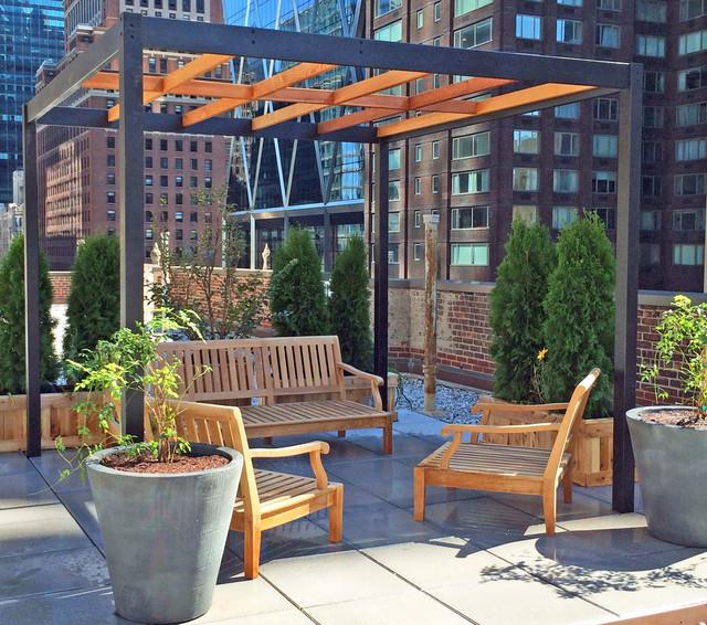 NYC Roof Garden with Pergola Concrete Pavers Cedar