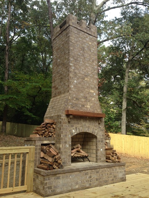 Outdoor Chimney And Deck Rustic Deck Birmingham By
