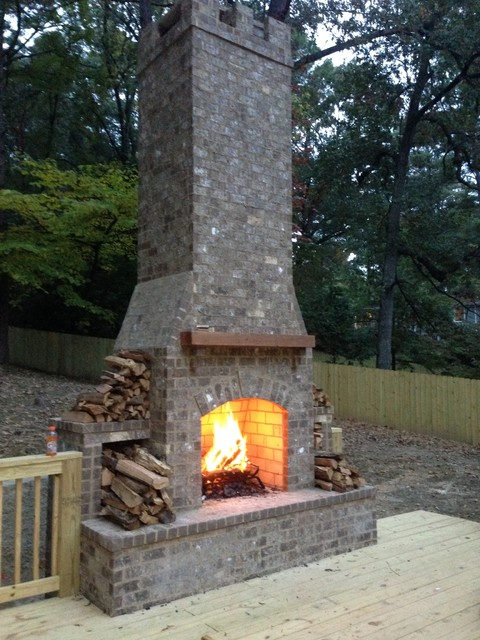 Outdoor Chimney On A Back Deck Traditional Deck