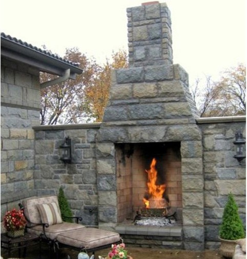 Outdoor Fireplace Kits 36 In Pre Engineered Masonry Outdoor Fireplace Mediterranean Deck