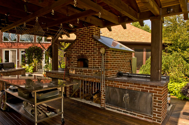 outdoor gable roof wood fired pizza ovens - traditional - deck
