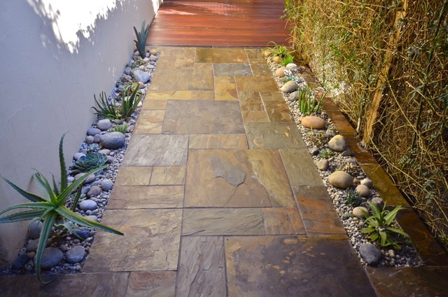 Outdoor Ipe And Slate Walkway