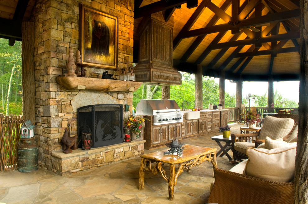 Outdoor Kitchen 1 - Rustic - Deck - Charlotte - by Banner ...